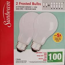 2 sunbeam 100 watt light bulbs incandescent
