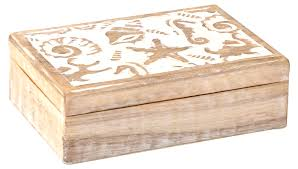 100 Sea Shell Design Hand Carved Wooden Box With S In White Distressed