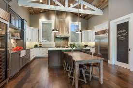 Modern Rustic Chic Kitchen Creation With Reclaimed Wood Ceiling And Wooden Flooring Also Dining Table Set