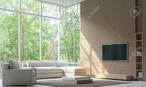 moderne wohnzimmer dekorieren wand mit ziegelstein 3d rendering image minimalist stil weißen boden schmücken wand mit ziegelsteinmuster grund einfach