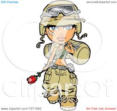 Clipart Of A Female Army Soldier Walking With Bag Rose And Bandage On Her Cheek