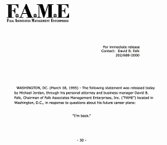 Michael Jordan announced 1995 eback with fax I m back