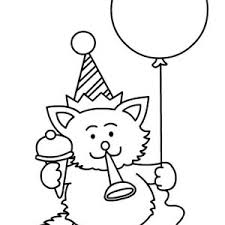 A Cat Blowing Horn For Happy Birthday Party Coloring Page