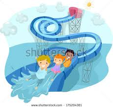 Illustration Of Kids Happily Sliding Down A Looped Water Slide
