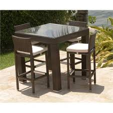Wicker Patio Bar Table Set