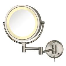 jerdon 11 in x 13 5 in lighted wall mirror in nickel hl75n the