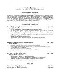 Restaurant Manager Resume Objective Luxury Examples Personal Skills General