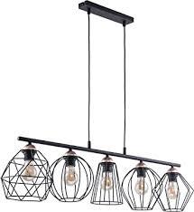design pendelleuchte schwarz kupfer metall 5 flammig