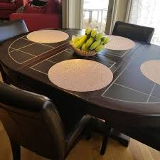 DINING TABLE And 6 LEATHER Chairs