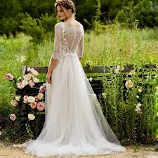 Romantic Lace Top Bohemian Wedding Dress A Line Jewel Neck Flowing Soft Tulle Country Style Rustic Bridal Dresses With 3 4 Long Sleeve