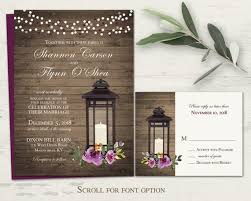 Purple Wedding Invitations Rustic Lantern Wedding Invitation