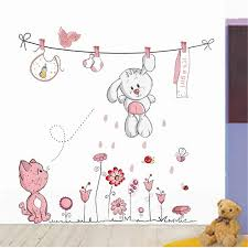 Cute Hang Clothes Rabbit Cat Removable Mural Kindergarten Nursery Kids Baby Child Bedroom Decor Self Adhesive Wall Sticker Decal In Stickers From Home