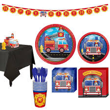 100 Fire Truck Plates Basic Party Kit For 8 Guests Party City