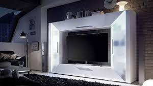 mediawand wohnwand edge weiß hochglanz tv wand mit ambiente
