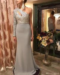 100 Where Is Dhgate Located One Shoulder Silver Column Sparkling Hollow Long Sleeve Floor Length