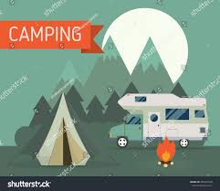 National Park Mountain Campground Scene Camper Stock Vector (Royalty ...