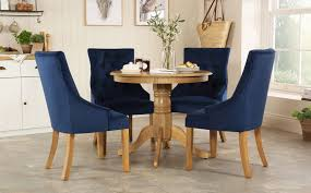 Kingston Round Oak Dining Table - With 4 Duke Blue Velvet Chairs Small Round Ding Table In Black With 4 Teal Blue Velvet Chairs Rhode Island Kaylee Remarkable Navy Set Tufted Uptown Chair Silver Leaf Including Modern Lovely Pink Upholstered Gold Room Metal Frame Of 2 Extraordinary Covers Slipcovers A Rustic Elegant Thanksgiving Eclectic Living Room Home White Extendable 6 Vivienne Jenna Belinda Ding Chair Navy Khamila Fniture Store Kallekoponnet Kitchen Design Tiffany Slate Amusing