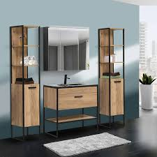 badezimmer set in industrie design manhattan 56 4 teilig gold craft oak eiche b h t 135 185 46cm