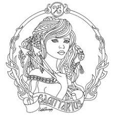 Sagittarius Zodiac Beauty Colouring Page