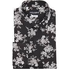 Dolce Gabbana Black And White Floral Print Cotton Gold Point Mens ShirtsMens