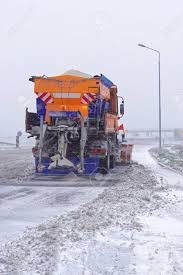 100 Truck With Snow Plow Plow Salt Spreader At Highway Stock Photo Picture