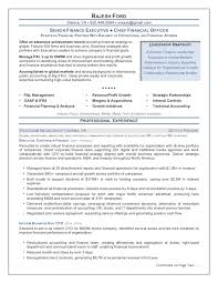 Chief Financial Officer Resume Sample Senior Finance Executive