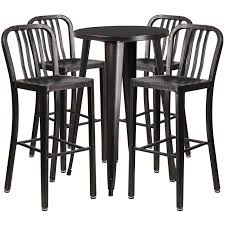 24 Round Black Antique Gold Metal Indoor Outdoor Bar Table Set With 4 Vertical Slat Back Stools