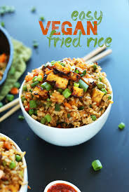A Big Serving Of Our Amazing Vegan Fried Rice With Crispy Tofu For Dinner