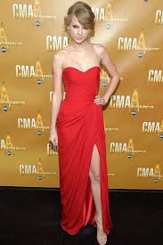 taylor swift prom dress cma red carpet strapless sweetheart red