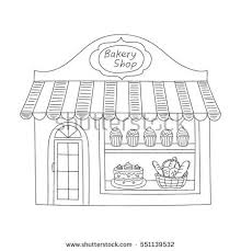 Bakery shop building isolated on white background Hand drawn doodle style vector illustration