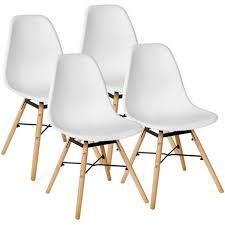 weiß 4er set skandinavisches retro design modern stühle esszimmerstühle möbel holz stahl kunststoff schale rund für wohnzimmer esszimmer küche büro