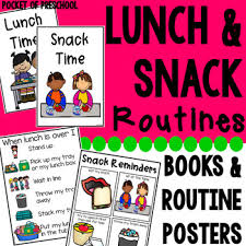 Lunch And Snack Time Visual Routine Reminder Charts Read Alouds