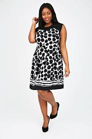 black u0026 white spot print dress with sheer yoke plus size 16 18 20