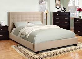 Ivory Flannelette Tufted Upholstered Bed Frame Caravana Furniture