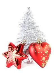 Red Christmas Tree Star And Heart Near Silver Artificial Made Of Tinsel Grows From