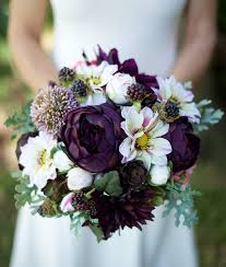 AMAZING Lilac Plum Wedding Silk Succulent Peonies Dahlias And Berries Flower Bride Fall Rustic Bouquet