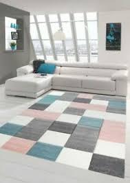 details zu wohnzimmer teppich design mit karo muster in rosa grau türkis