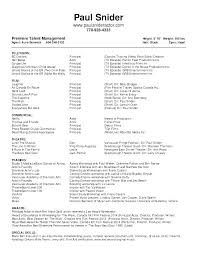 Theatre Resume Template Actor Format Acting Resumes Templates Child