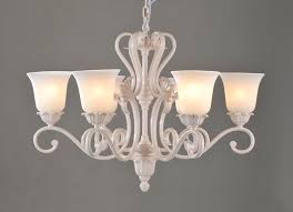 6 light white metal european chandeliers with glass