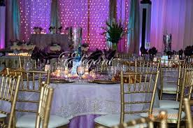 Purple Table Cloths Crinkle Crush Tablecloth Underlay Gold Chairs Wedding Theme Round Paper Tablecloths