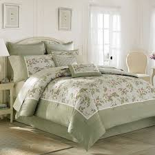 Charming Bedding In Olive And Floral Pattern By Laura Ashley On Wheat Floor Matched With