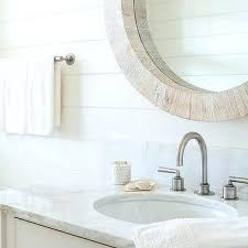 Diy Rustic Vanity Mirror Table With Mirrors For Bathroom White And Light Gray Shiplap Wall Trim
