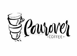 Pourover Coffee Hand Lettering Custom Drawn Letters Brush Pen Stock Vector