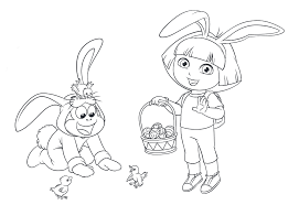 Happy Easter Dora The Explorer Coloring Pages