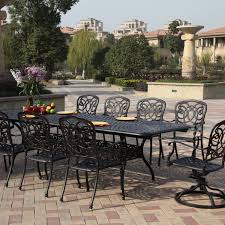 Florence 11 Piece Cast Aluminum Patio Dining Set W/ 92 X 42 Inch  Rectangular Extension Table By Darlee