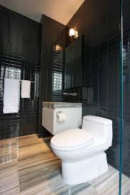 black glass subway tiles contemporary bathroom