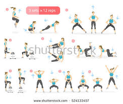 Workout Girl Set Woman Doing Fitness Stock Illustration 582161113 For Huge Gains