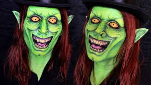 Halloween Town 3 Characters by Green Goblin Makeup Tutorial Halloween Day 17 Youtube