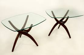 Adrian Pearsall Style Forest Wilson Mid Century Modern Wood And Glass Side  End Tables - Mcm