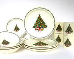 XMAS SALE Vintage Christmas Tree Dinnerware Set For 6